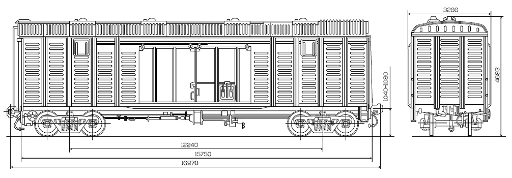 Roof wagon 138 cubic meters, scheme