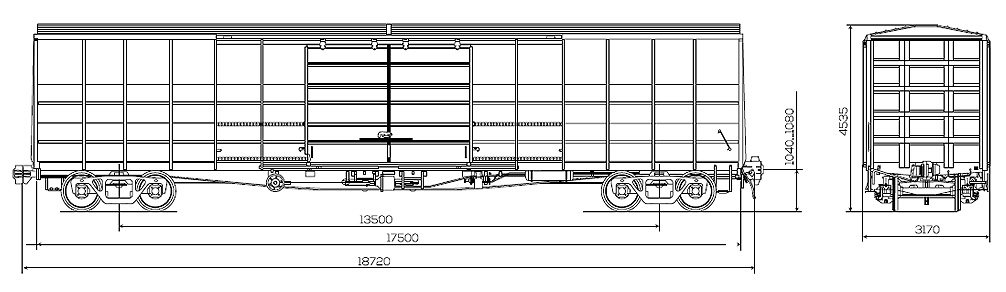 Roof wagon 150 cubic meters, scheme