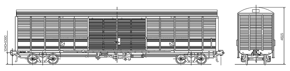 Roof wagon 158 cubic meters, scheme